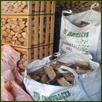 Logs are delivered in bulk bags, crates or pvc handy bags